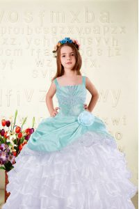 Super Beading and Ruffled Layers and Hand Made Flower Pageant Gowns Aqua Blue Lace Up Sleeveless Floor Length