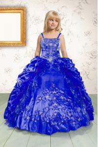 Beading and Appliques and Pick Ups Kids Formal Wear Royal Blue Lace Up Sleeveless Floor Length