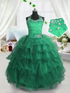 Sweet Peacock Green Pageant Dress Party and Wedding Party with Beading and Ruffled Layers Scoop Sleeveless Lace Up