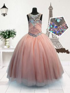 Pink Ball Gowns Scoop Sleeveless Organza Floor Length Zipper Beading Kids Pageant Dress