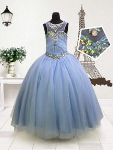 Scoop Sleeveless Organza Child Pageant Dress Beading and Ruffles Zipper