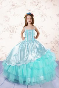 Admirable Spaghetti Straps Sleeveless Pageant Dresses Floor Length Embroidery and Ruffled Layers Turquoise Organza