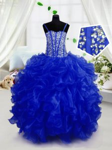 Sleeveless Beading and Ruffles Lace Up Pageant Dress Toddler