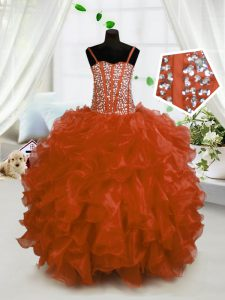 Ball Gowns Pageant Dress Rust Red Spaghetti Straps Organza Sleeveless Floor Length Lace Up