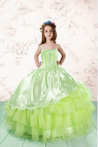 Sleeveless Organza Floor Length Lace Up Kids Pageant Dress in Yellow Green with Embroidery and Ruffled Layers