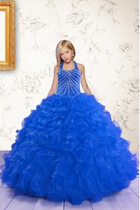 Halter Top Sleeveless Floor Length Beading and Ruffles Lace Up Little Girls Pageant Gowns with Royal Blue