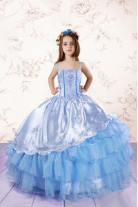 Baby Blue Ball Gowns Spaghetti Straps Sleeveless Organza Floor Length Lace Up Embroidery and Ruffled Layers Little Girls Pageant Gowns