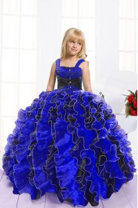 Organza Sleeveless Floor Length Custom Made Pageant Dress and Beading and Ruffles