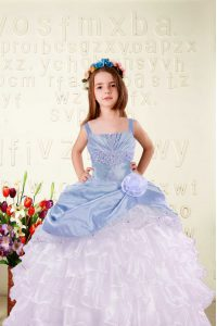 Light Blue Straps Neckline Beading and Ruffled Layers and Hand Made Flower Little Girls Pageant Gowns Sleeveless Lace Up