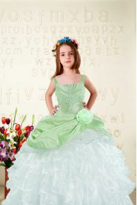 Floor Length Apple Green Pageant Gowns For Girls Organza Sleeveless Beading and Ruffled Layers and Hand Made Flower