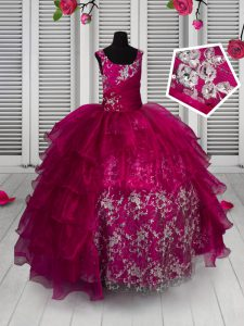 Inexpensive Fuchsia Ball Gowns Organza Straps Sleeveless Appliques and Ruffled Layers Floor Length Lace Up Pageant Dress