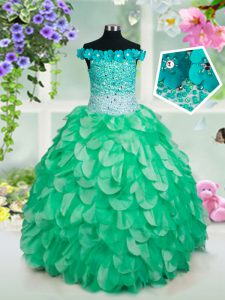 Off the Shoulder Green Sleeveless Beading and Hand Made Flower Floor Length Pageant Dress Wholesale