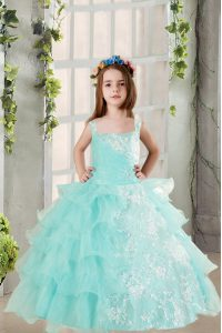 Light Blue Ball Gowns Lace and Ruffled Layers Winning Pageant Gowns Lace Up Organza Sleeveless Floor Length