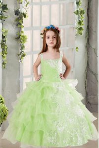 Ruffled Ball Gowns Glitz Pageant Dress Yellow Green Square Organza Sleeveless Floor Length Lace Up