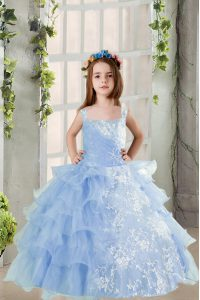 Lace and Ruffled Layers Pageant Dress for Teens Baby Blue Lace Up Long Sleeves Floor Length