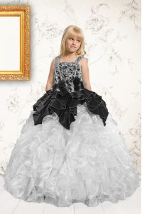 Pick Ups Floor Length Ball Gowns Sleeveless Silver Girls Pageant Dresses Lace Up