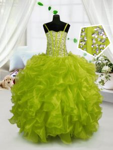 Customized Sleeveless Organza Floor Length Lace Up Pageant Dress in Yellow Green with Beading and Ruffles