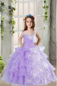 New Arrival Beading and Ruffled Layers Kids Formal Wear Lavender Lace Up Sleeveless Floor Length