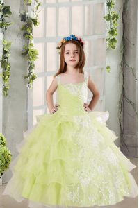 Customized Light Yellow Square Lace Up Lace and Ruffled Layers Pageant Dress Toddler Sleeveless