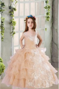 Floor Length Zipper High School Pageant Dress Champagne for Party and Wedding Party with Lace and Ruffled Layers