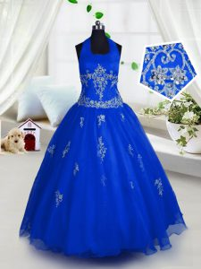 Halter Top Sleeveless Evening Gowns Floor Length Appliques Blue Tulle