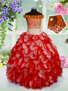 Red Pageant Dress Party and Wedding Party with Beading and Hand Made Flower Off The Shoulder Sleeveless Lace Up