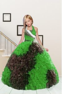 Latest Apple Green and Chocolate Halter Top Lace Up Beading and Ruffles Pageant Dress for Girls Sleeveless
