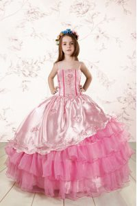 Top Selling Ruffled Ball Gowns Pageant Dress Rose Pink Spaghetti Straps Organza Sleeveless Floor Length Lace Up