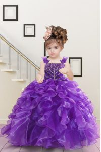 Affordable Sleeveless Beading and Ruffles Lace Up Little Girl Pageant Dress