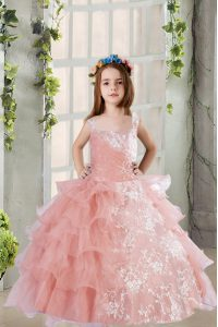 Baby Pink Organza Lace Up Square Sleeveless Floor Length Glitz Pageant Dress Lace and Ruffled Layers