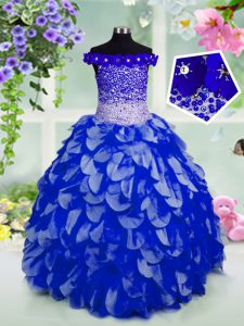 Off the Shoulder Floor Length Lace Up Kids Formal Wear Royal Blue for Party and Wedding Party with Beading and Hand Made Flower