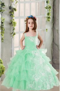 Dramatic Ruffled Turquoise Sleeveless Organza Lace Up Evening Gowns for Party and Wedding Party