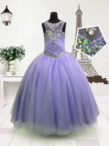 Excellent Lavender High-neck Zipper Beading Pageant Dress Womens Sleeveless