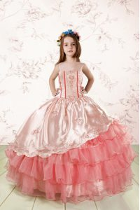Stylish Floor Length Baby Pink Pageant Dress Toddler Organza Sleeveless Embroidery and Ruffled Layers