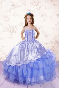 Stylish Baby Blue Ball Gowns Spaghetti Straps Sleeveless Organza Floor Length Lace Up Embroidery and Ruffled Layers Pageant Dress for Teens
