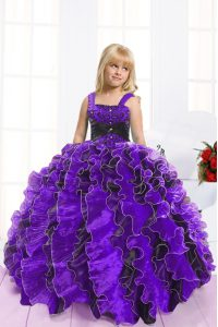 Custom Designed Blue And Black Lace Up Straps Beading and Ruffles High School Pageant Dress Organza Sleeveless