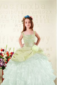 Yellow Green Lace Up Evening Gowns Beading and Ruffled Layers Sleeveless Floor Length