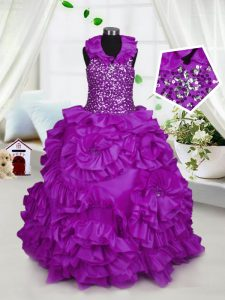 Cute Purple Ball Gowns Halter Top Sleeveless Taffeta Floor Length Zipper Beading Pageant Dresses