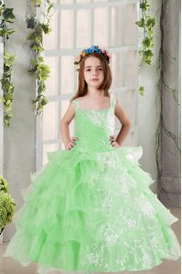 Excellent Apple Green Lace Up Square Lace and Ruffled Layers Pageant Dress Organza Sleeveless