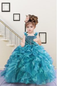Modern Turquoise Girls Pageant Dresses Party and Wedding Party with Beading and Ruffles Straps Sleeveless Lace Up
