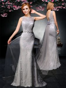 Grey Column/Sheath Bateau Sleeveless Tulle and Lace With Train Watteau Train Backless Lace and Belt Prom Evening Gown