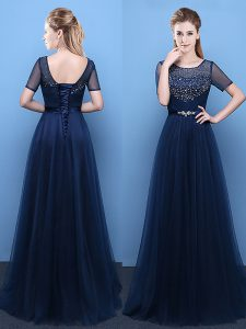 Fancy Scoop Navy Blue Tulle Lace Up Prom Dress Short Sleeves Floor Length Beading