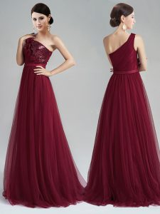 One Shoulder Burgundy Sleeveless With Train Appliques and Sequins and Belt Zipper Prom Dresses