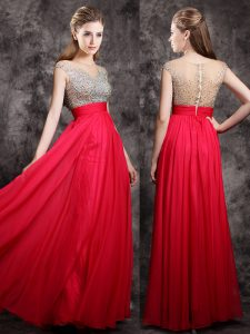 Extravagant Chiffon Cap Sleeves Floor Length Prom Evening Gown and Beading