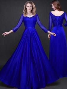 Sumptuous Royal Blue Long Sleeves Appliques and Belt Floor Length Prom Dresses