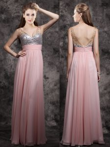 Great Baby Pink Empire V-neck Sleeveless Chiffon Floor Length Zipper Beading and Sequins Prom Party Dress