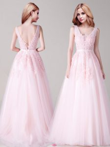 Sleeveless Floor Length Appliques and Belt Backless Prom Evening Gown with Baby Pink