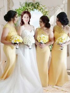 Artistic One Shoulder Yellow Column/Sheath Lace and Belt Prom Dress Zipper Satin Sleeveless Floor Length