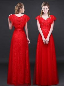 Red Short Sleeves Tulle and Lace Zipper Prom Dresses for Prom