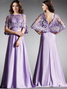 Discount Scoop Lavender Satin Zipper Half Sleeves Floor Length Lace